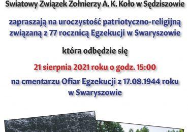 Obchody 77 rocznicy Egzekucji w Swaryszowie
