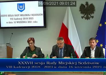 Nagranie sesji Rady Miejskiej Sędziszów - XXXVII/2021